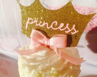 Princess Crown - Princess Cupcake Toppers - Princess Birthday Party - Princess Party Decorations - Princess Crown Decorations - Custom Crown