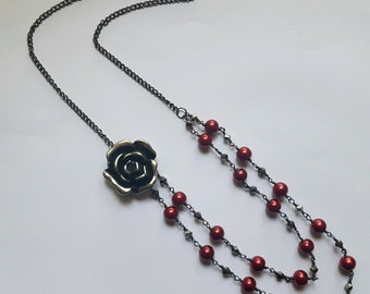 Red Glass Pearl Double Strand Rose Necklace