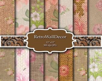 Flowers on burlap , linen floral , floral on textile , burlap texture , textile texture , burlap digital paper pack 12x12 Buy 2 Get 1 FREE