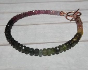 Stunning Tourmaline Gemstone Bracelet, Multi-coloured Tourmaline, Rubellite, Pink Tourmaline, Green Tourmaline, Simple, Dainty Bracelet