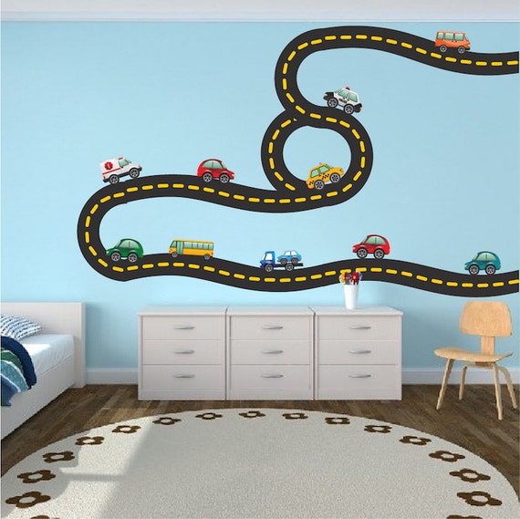 Car tracks decals race road track wall art stickers kids for Cars wall mural sticker