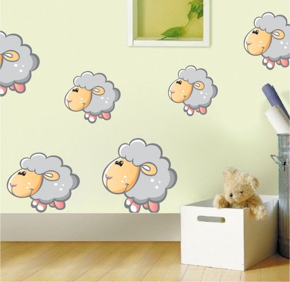 nursery and kids sheep bedroom wall decal sticker bedroom sheep wall