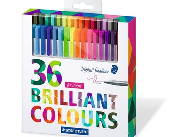 Staedtler Set of 36 Assorted Colors Pen Set - Triplus Fineliner Pens