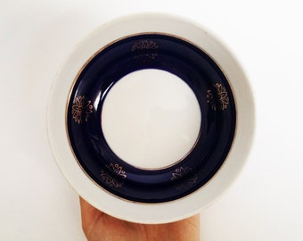 6 Vintage navy blue bowls gold flower details trim decor motif cobalt dish serving miso ramen donburi rice faience ceramic china