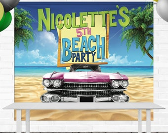 Teen Beach Movie Birthday Backdrop - Personalized - 8' x 6' Vinyl Banner - (Final Print is 8' x 6.6' for table backdrop)