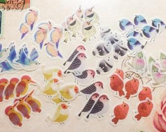 60 Bird Stickers - Washi Flakes