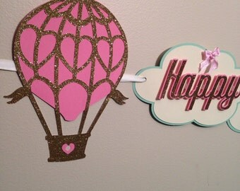 Hot air balloon birthday banner,birthday banner,hot air balloon banner