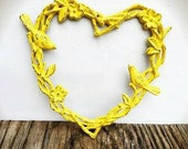 BOLD sunny yellow garden heart wreath // twigs flower blossoms leaves & blue birds // shabby cottage cast iron outdoor