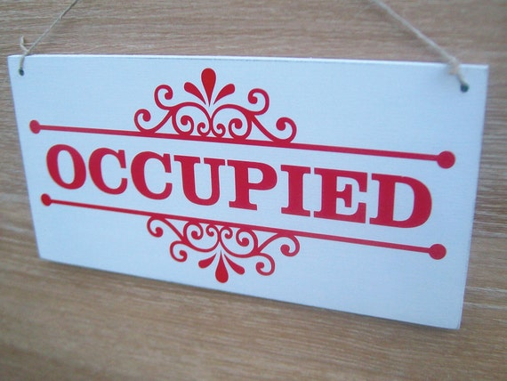 Occupied vacant double sided bathroom door sign toilet for Occupied bathroom sign