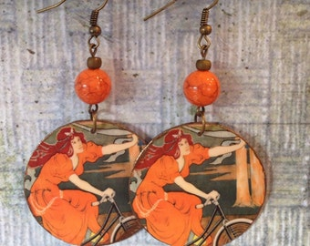 Upcycled Vintage Omnium Bicycle Print Earrings, paper and cardboard decoupage