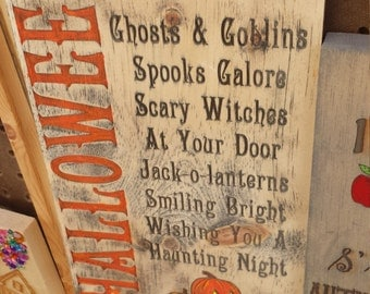 Rustic Halloween Wood Sign