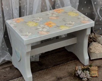 wooden bench painted wooden bench decoupage cottage provence french country Entryway Furniture Wooden stool small bench wood step stool