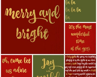 Red, Green, and Gold Holiday Card Set (Digital Download)