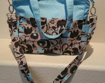 SALE: Blue and Polka Dot Elephant/Jungle Handmade Blue/Gray/Black Diaper Bag