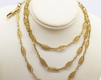 Antique Art Nouveau Victorian Long Chain Necklace 18k Gold French Sautoir (#6095)