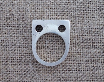 stranded knitting ring - sterling silver
