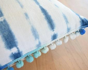 Multi Color Pompom Linen Shibori Pillow