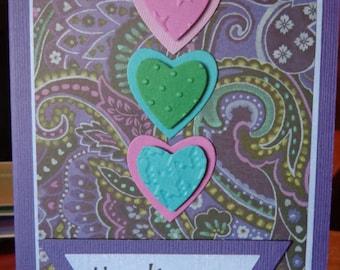 Three heart thank you card