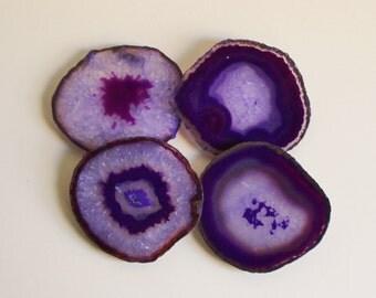 Agate Coasters, Purple, Set of 4