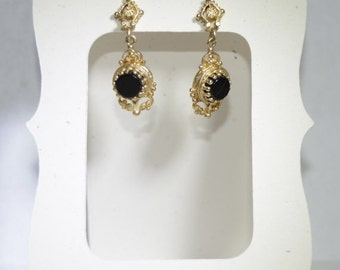 VALENTINES DAY SALE Gold and Onyx Victorian Style Drop Earrings