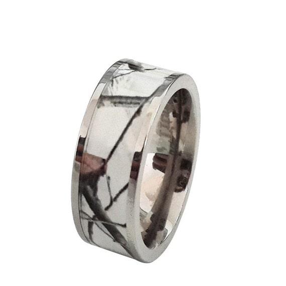 unisex titanium snow camo white wedding ring band outdoor