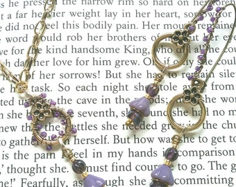 Purple flower necklace and earring set