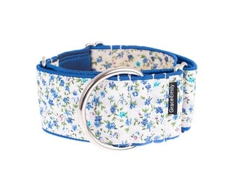 Blue-white martingale collar, martingale dog collar, dog collar,2 inch