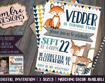 Woodland Birthday Invitation, Woodland Baby Shower, Forest Animals, Woodland Party Party, First Birthday