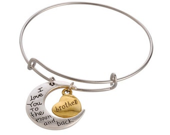 Inspired I Love You To The Moon and Back Brother Adjustable Bangle Bracelet