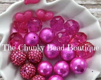 20mm fuchsia bead assortment