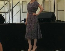 "1940s dress, handmade vintage inspired ""Ella"" dress in a navy daisy print, pleated waist detail. Made to order in size."