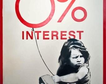 BANKSY Canvas Graffiti 0% Interest Girl Wall Art Print Gallery Wrapped