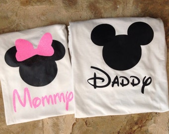 Mommy and daddy minnie and mickey mouse shirts, pink minnie mouse mommy shirt, mickey mouse daddy shirt, mommy and daddy disney shirts