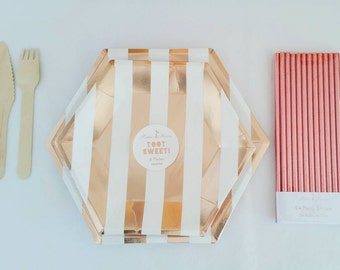 Rosegold Stripes Plate Small