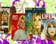 Sharon Tate - Vintage Look Magazine Cover Refrigerator Magnets  (4pk)