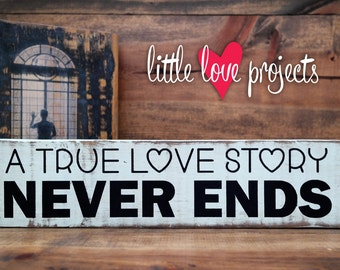 True Love Story Rustic Wood Block