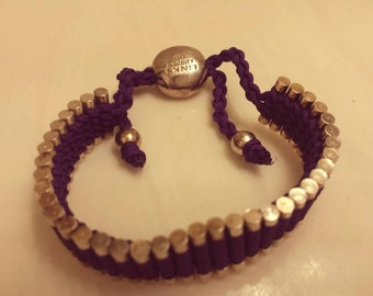 Links of London dark purple sterling silver and cord adjustable friendship bracelet