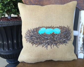 Throw Pillows/Birds Nest/Robin Egg Blue/Robin Eggs/Burlap Pillow/Spring Decor/Spring Pillow