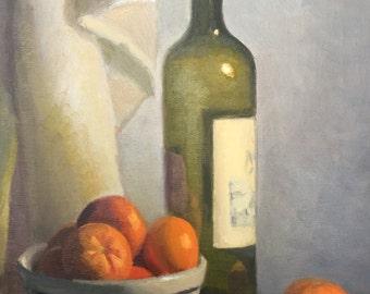 Wine Bottle with Tangerines