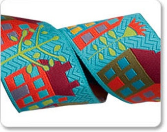"""Sue Spargo Street Houses 1-1/2"""" (38mm) by Renaissance Ribbon BTY Turquoise Background"""