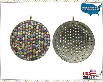 Multi Sapphire Disc Pendant, Pave Disc, 25 MM Multi Color Sapphire Round Disc in 925 Silver, Silver Pave Disc Pendant, Pave Jewelry Findings