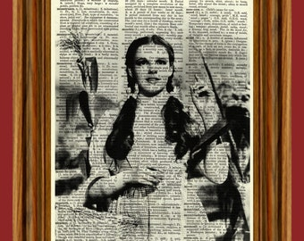 Dorothy (Wizard of Oz) Judy Garland Upcycled Dictionary Art Print Poster