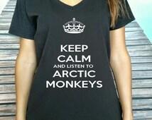 Keep Calm And Listen To Arctic Monkeys  Women T-shirt Keep Calm Arctic Monkeys  V Neck Women t-shirt Rock Tshirt  V Neck shirt