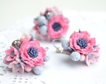 Pink grey flower earrings ring set jewelry. Polymer clay flowers earrings ring set jewelry