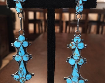 Zuni Channel Inlay Turquoise and Silver Drop Earrings