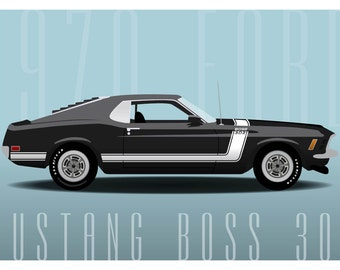 Ford Mustang Boss 302 Muscle Car Poster