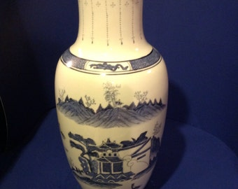 Tall Blue and White Chinoiserie Desn Vase  REDUCED