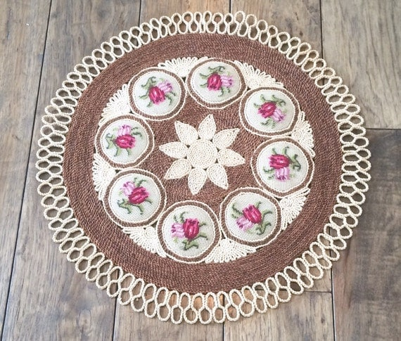 Needlepoint Rug Throw Rug Round Rug Small Rug By
