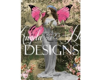 Fairy with Pink Wings 2 Sheet Digi Photo Set
