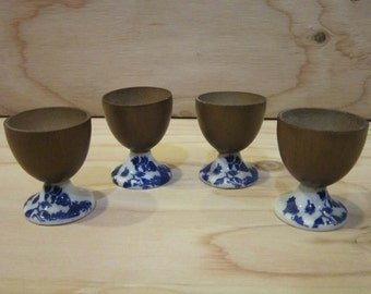 Set of 4 Wooden and Ceramic Mini Goblets